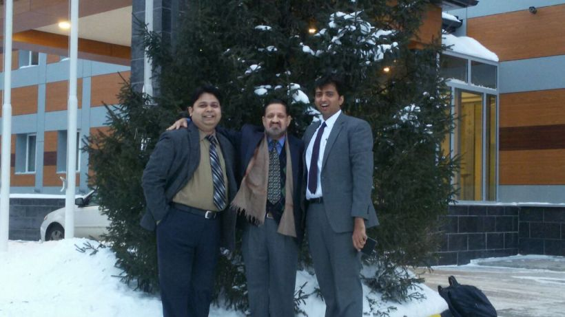 My first picture in snow along with my boss and dean school of journalism and mass comm