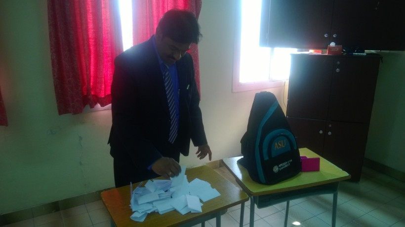Respected Principal, Indian School, Bahrain declaring the results!